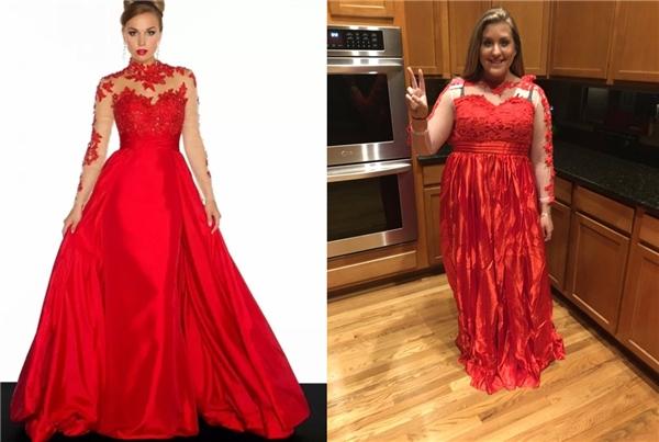 """Cô bạn này không """"đỏ"""" như màu chiếc áo đầm rồi."""