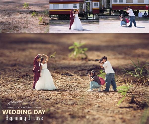 """Kiểu ảnh cưới """"người tí hon"""" của nhiếp ảnh gia này được rất nhiều người ưa chuộng. (Ảnh: FBNV)"""