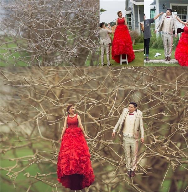 """Bật mí hậu trường ảnh cưới """"tí hon – khổng lồ"""" gây bão mạng"""