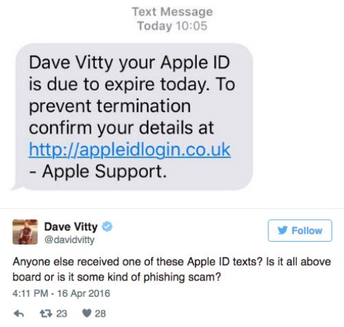 Một tin nhắn giả mạo Apple để lừa đảo người dùng đánh cắp tài khoản Apple ID. (Ảnh: internet)