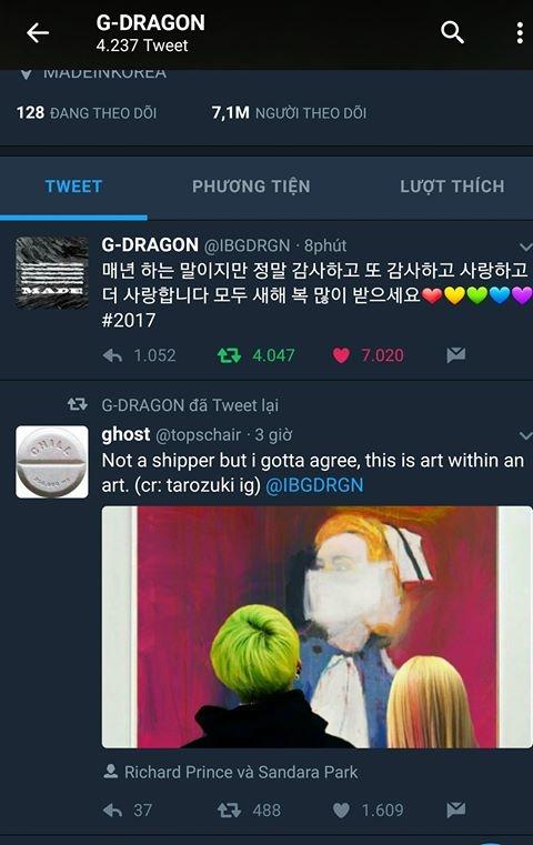 G.D tweet lại hình ảnh của anh và Dara trên Twitter.