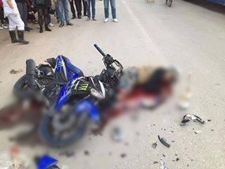 Hiện trường vụ tai nạn khiến chàng trai tên T. tử vong tại chỗ. Ảnh: Trang cá nhân.