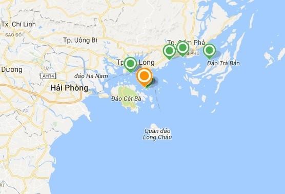 Vị trí tàuÁnh Dương gặp tai nạn (chấm vàng). (Ảnh: Google Maps)