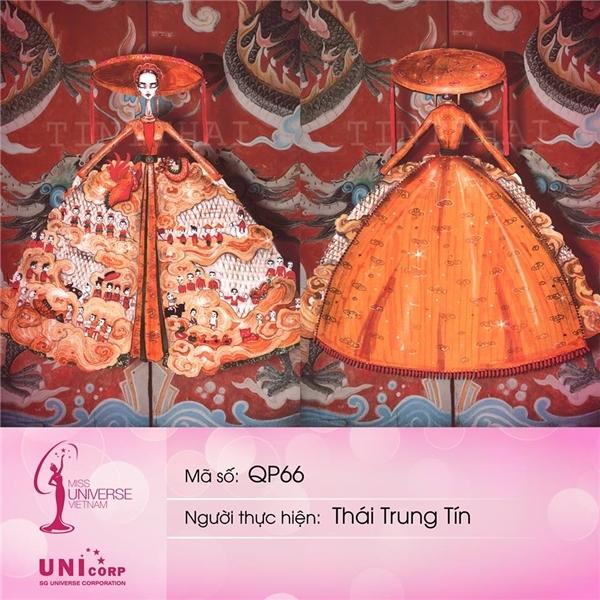 Thái Trung Tín tiếp túc góp mặt trong top 5 với thiết kế lấy ý tưởng từ nghệ thuật múa rối nước kết hợp phom áo tứ thân, nón quai thau truyền thống. Những tông màu nổi bật, chi tiết cầu kì giúp bộ cánh vô cùng nổi bật, bắt mắt.