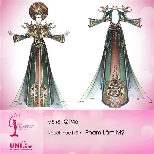 Mẫu thiết kế của Phạm Lâm Mỹ vẫn lấy áo dài làm chủ đạo, được nhấn nhá bằng họa tiết cầu kì ở phần vai, ngực. Hình ảnh Hoàng hậu Nam Phương là nguồn cảm hứng để nhà thiết kế trẻ cho ra đời bộ trang phục này.