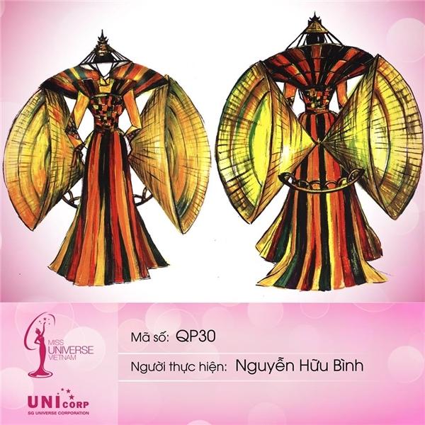 Nón bài thơ, chùa Thiên Mụ xứ Huế xuất hiện ấn tượng trong thiết kế của Nguyễn Hữu Bình.