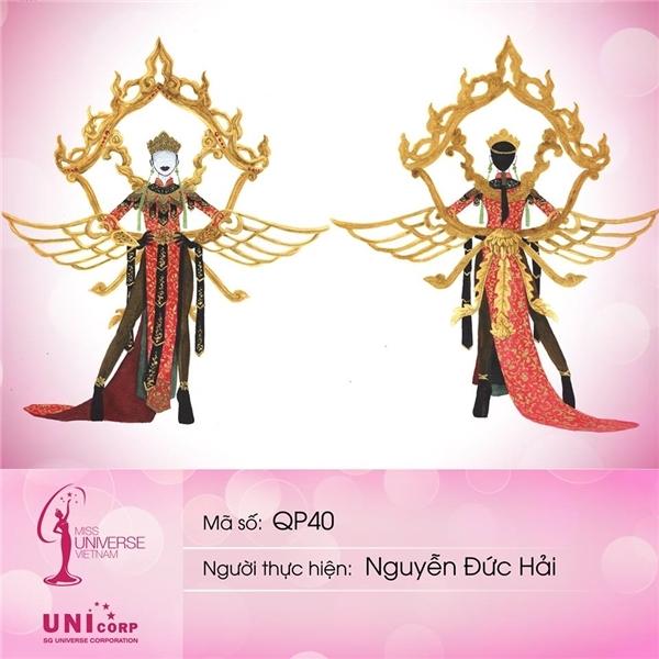 Mẫu thiết kế cuối cùng của Nguyễn Đức Hải cũng không hề kém cạnh với phần chi tiết cách điệu cầu kì.