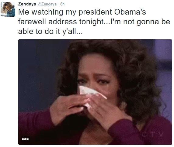 """Zendaya: """"Đây là tôi khi xem bài phát biểu chia tay Nhà Trắng của ông Obama...""""."""