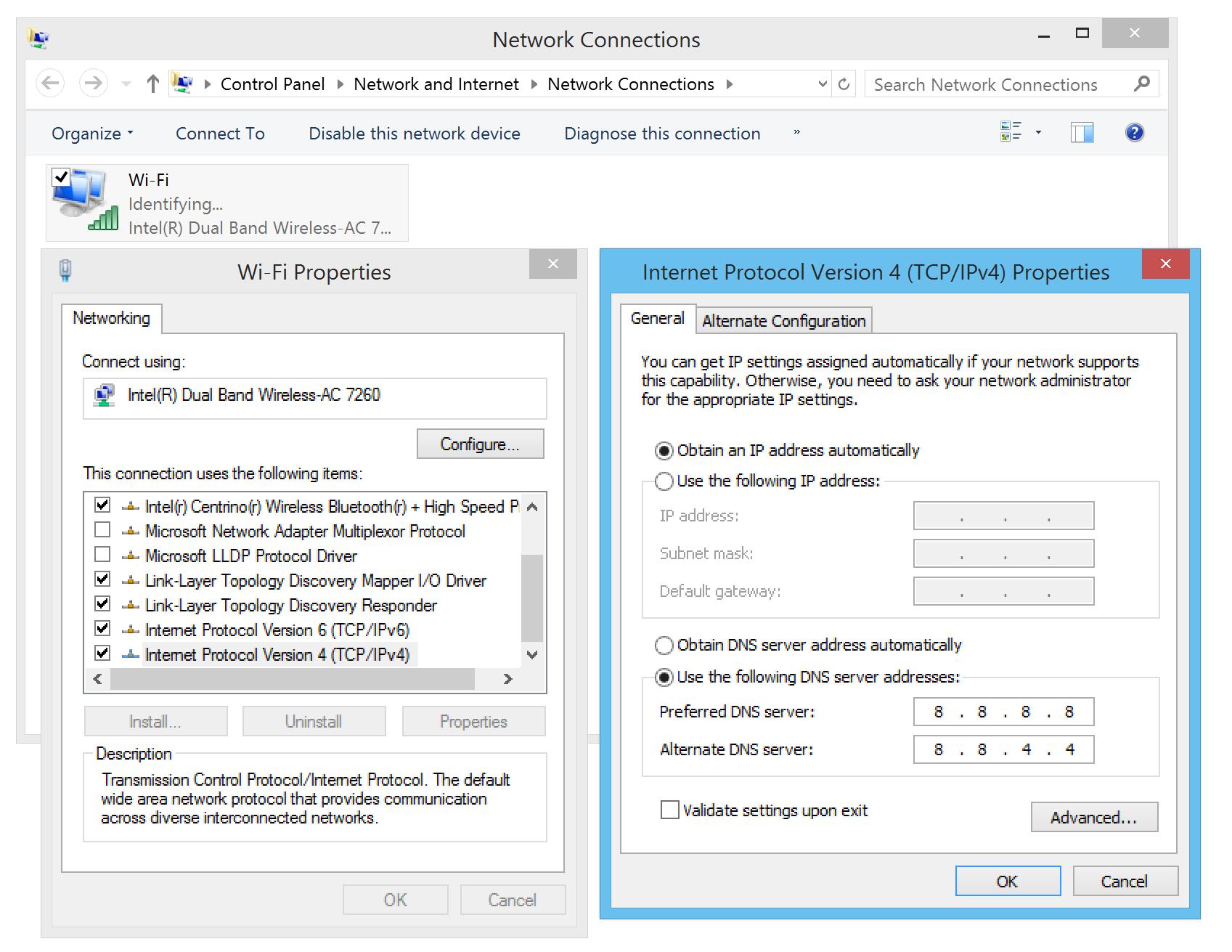 Nhập DNS của Google cho máy tính Windows.