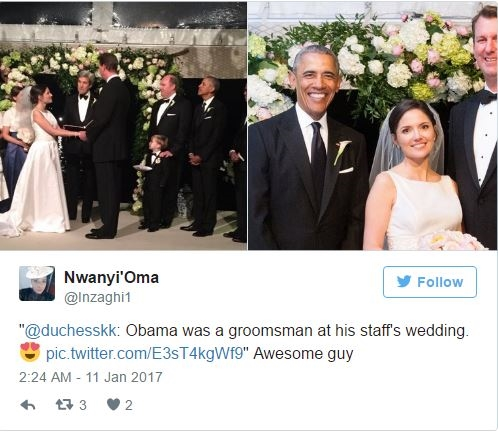 Ngay sau đó, nhiếp ảnh gia hôn lễ Nicholson đã đăng tải bức hình Tổng thống cười vui vẻ, đứng cạnh nhân viên của mình và những người bạn. Ông Obama cũng đứng trong hàng của các phù rể trong lúc cử hành hôn lễ.