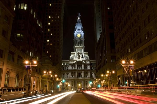 Một trong những tháp đồng hồ đẹp nhất thế giớiPhiladelphia City Hall ở Philadelphia, Mỹ. (Ảnh: internet)