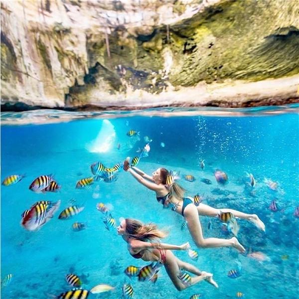 Chụp cảnh dưới lòng biển thì nước phải trong veo thế này!