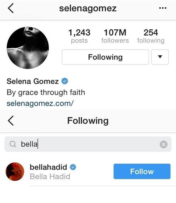 Trong khi Sel vẫn follow Bella trên IG...