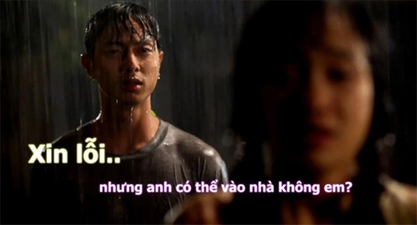 Trời mưa thế này mình vào nhà rồi xin lỗi đi em.(Ảnh: Internet)