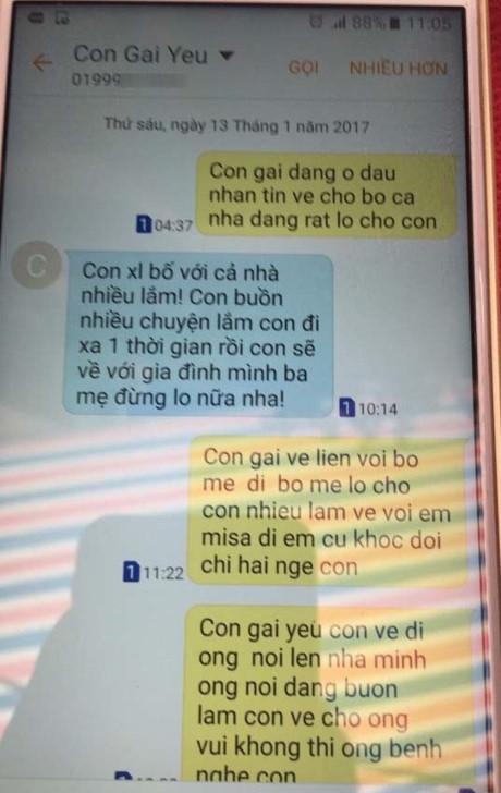 Tin nhắn trong điện thoại của hai bố con nạn nhân. (Ảnh: Internet)