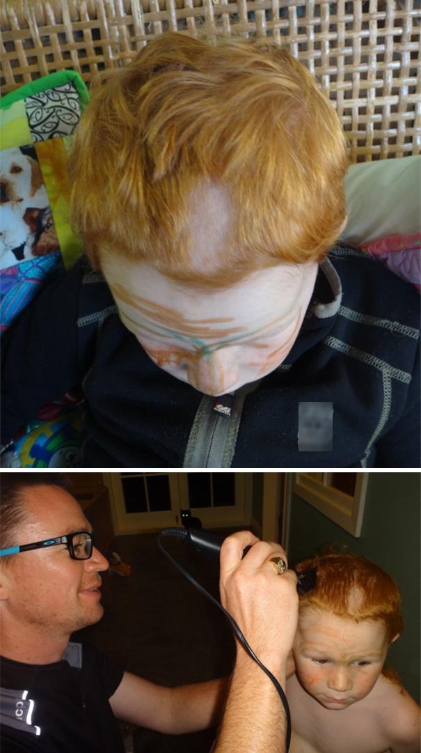 Sau khi cười một trận đã đời, ông bố có tâm mới chịu sửa tóc lại cho thằng con.