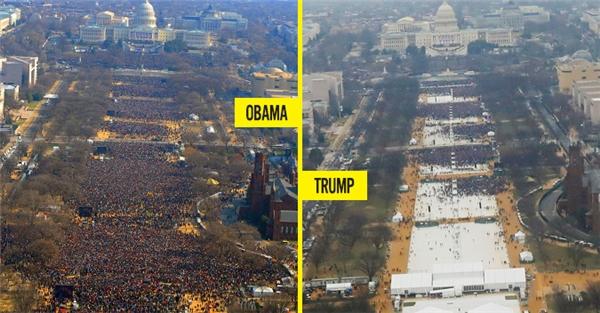 So sánh số lượng người tham dựlễnhậm chức của Tổng thống Obama năm 2009 (trái) và Tổng thống Trump năm 2017 (phải). (Ảnh: internet)