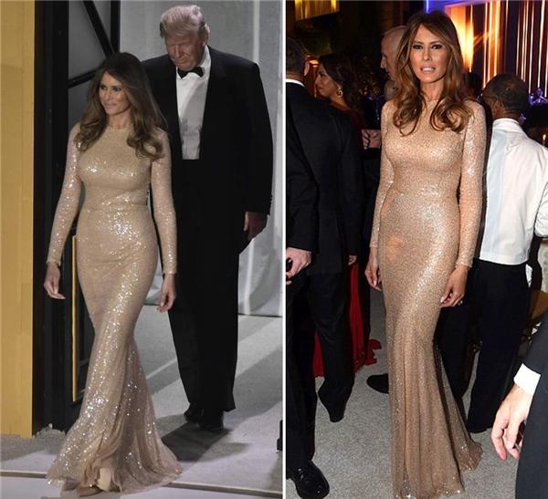 Trước đó, bà Trump đã chọn bộ cánh vàng kim tuyệt hảo củaReem Acra để tạo nên sự xuất hiện đầy ấn tượng của mình.