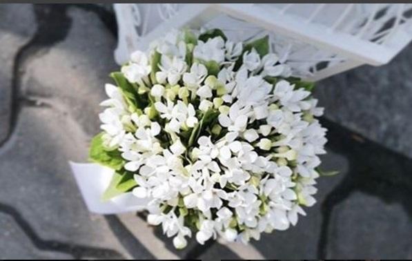 Hoa cưới mang tông màu trắng và xanh tinh khôi.