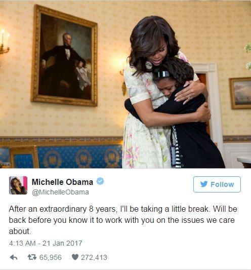 Dòng tweet của bà Michelle. (Ảnh: Twitter)
