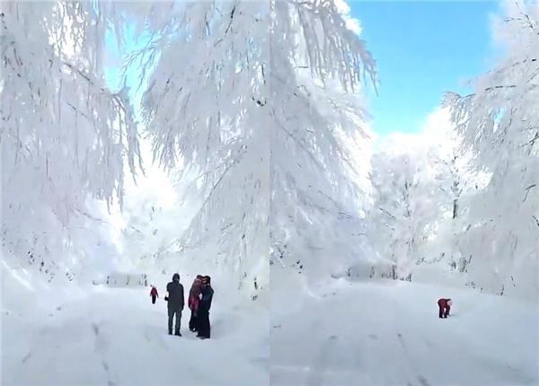 Ngỡ ngàng con đường phủ toàn băng tuyết trắng xóa như trong cổ tích
