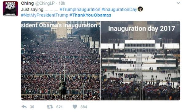 Hai bức ảnh so sánh lễ nhậm chức của ông Obama và ông Trump.