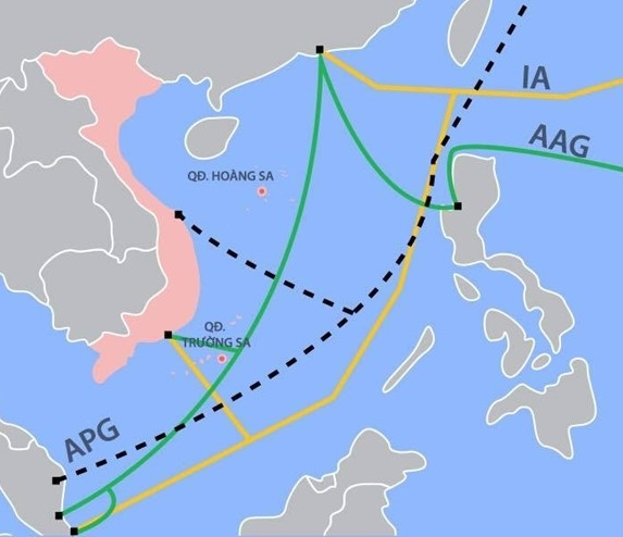 Sơ đồ 3 tuyến cáp quang biển của Việt Nam là APG, AAG và IA. (Ảnh: Zing)