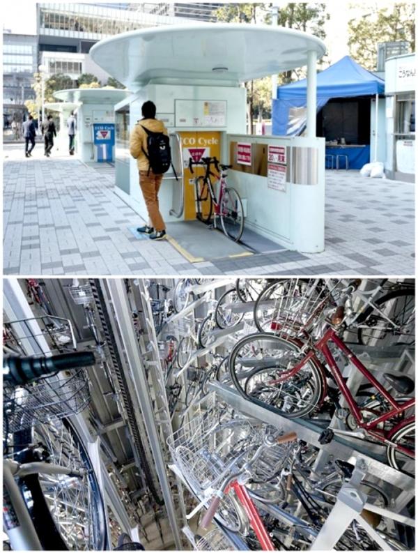 Bãi đậu xe đạp ngầm và tự động: Để giải quyết tình trạng có quá nhiều bãi đậu xe đạp trên đường phố, người Nhật đã thiết kế ra một hệ thống đỗ xe đạp ngầm và tự động. Nó trông giống như một buồng thang máy, bạn chỉ cần đậu xe trên đường ray, cửa sẽ tự động mở và chiếc xe được hạ xuống dưới mặt đất. Nếu muốn lấy lại xe, bạn chỉ cần quẹt thẻ là xong.