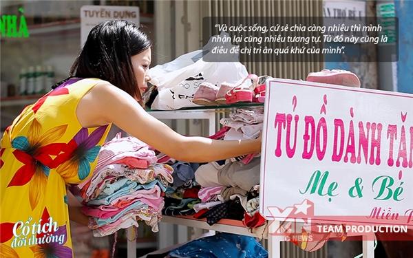Tủđồ từ thiện dành cho mẹ và bé của chị Lê Huyền Trang.
