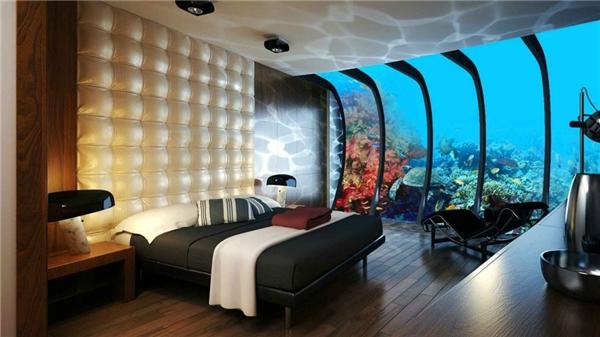 Một căn phòng thuộc một khách sạn dưới nước ở Dubai
