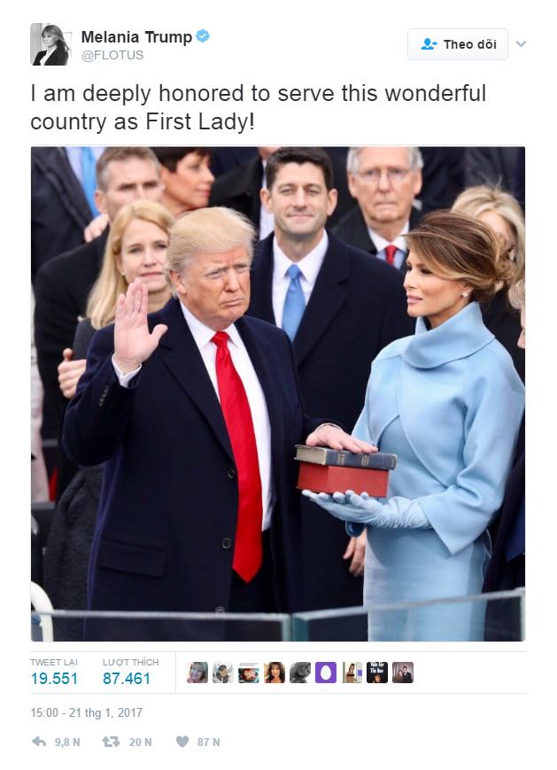 """""""Được trở thành Đệ nhất phu nhân của một đất nước tuyệt vời này là một vinh dự sâu sắc đối với tôi""""."""