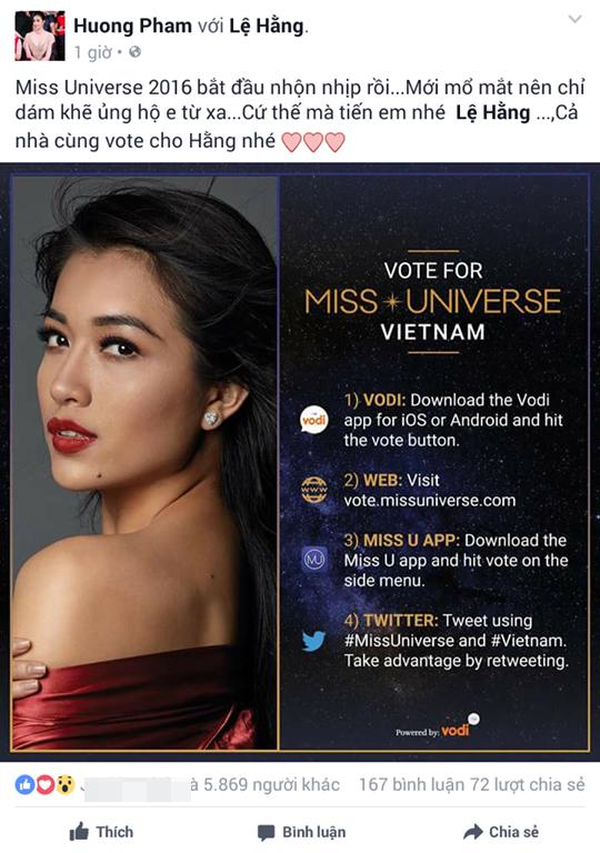 Hoa hậu Hoàn vũ Việt Nam 2015 Phạm Hương cũng nhanh chóng chia sẻ trên trang cá nhân các thể lệ bình chọn để khán giả nắm được.