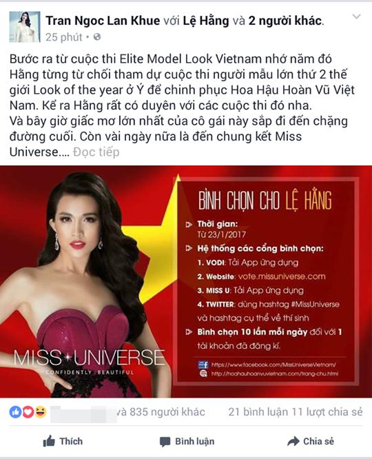 Hoa khôi Áo dài Việt Nam 2014 Lan Khuê kêu gọi khán giả tích cực góp phần tạo nên kì tích cho Lệ Hằng tại Miss Universe 2016.