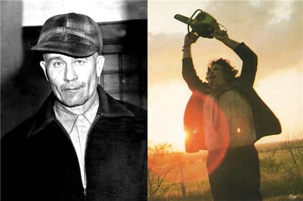 Tên sát nhân Ed Gein (trái) và tạo hình nhân vật Leatherface (phải).(Ảnh: Internet)
