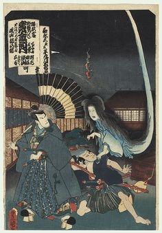 Bức họa mô phỏng cách Okiku trả thù tên samurai tàn ác.(Ảnh: Internet)