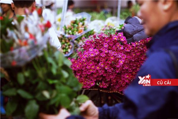 Không khí chợ hoa tấp nập, nhộn nhịp, rôm rả tiếng mặc cả của người mua, tiếng mời chàocủa người bán.