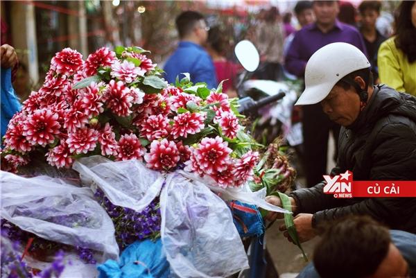 Những bó hoa thược dược, những ôm hoa violet được người đàn ông này chất đầy lên xe chuẩn bị chở tới một phiên chợ khác.