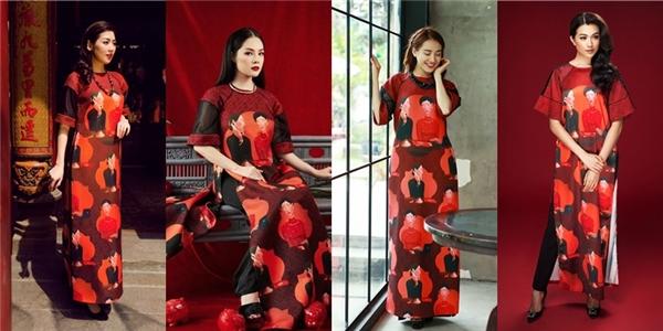 Đầu tiên là chiếc áo dài phom rộng với họa tiết tranh sơn dầu của nhà thiết kế Adrian Anh Tuấn. Thiết kế liên tục được 4 mỹ nhân danh giá của V-biz như: Nhã Phương, Lệ Hằng, Tú Anh, Dương Cẩm Lynh ưa thích.