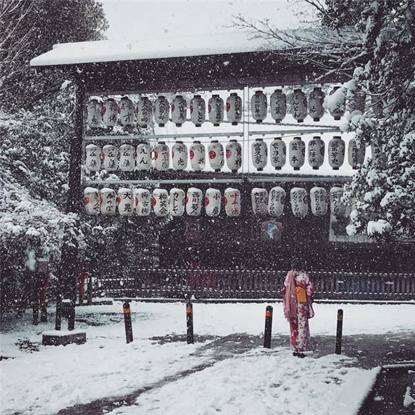 Quận Geisha Gion được bao phủ trong màn tuyết trắng.