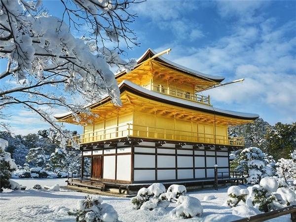 Màu sơn dát vàng của ngôi chùa Phật giáo Kinkakujisáng bừng giữa nền trời xanh.
