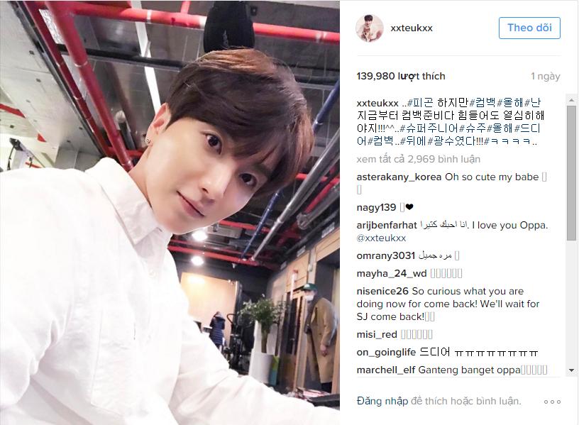 Dòng trạng thái chia sẻ việc comeback của Super Junior được Leeteuk đăng tải mới đây.