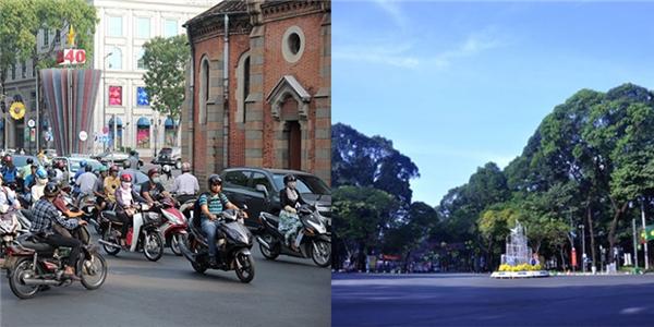 Những con đường thường ngày kẹt xe giờ trở nên yên ả.(Ảnh: Internet)  Đoạn đường Pasteur cũng im ắng tiếng người và động cơ.(Ảnh: Internet)