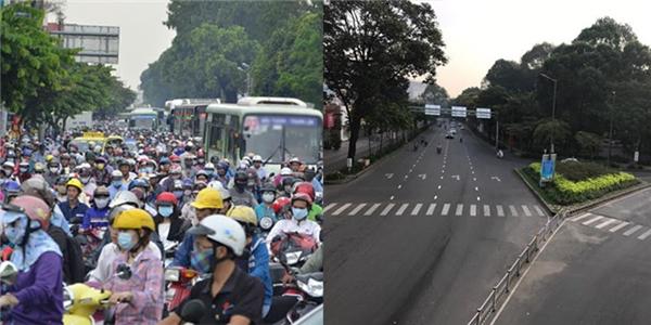 Con đường hướng ra sân bayTân Sơn Nhất cũng không còn ồn ào và chật chội như ngày cuối năm.(Ảnh: Internet)