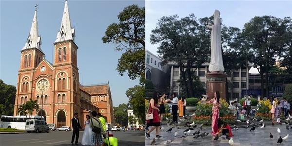 Nhà thờ Đức Bà thường ngày đông xe cộ và các cặp đôi đến đây để chụp ảnh cưới. Thì trong những ngày Tết, chỉ có người Sài Gòn đến đây du xuân chụp ảnh lưu niệm năm mới. (Ảnh: Internet)