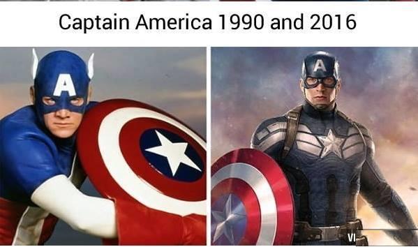 Đội trưởng Mỹ cũng có một thời chưa được lột xác và chưa biết đến cái gọi là kỹ xảo điện ảnh.