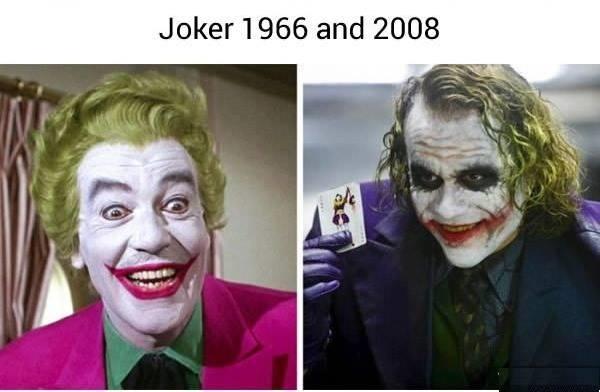 Một trường hợp ngoại lệ khác chính là đây. Vẫn quả đầu xanh lá ấy, cặp môi đỏ chót ấy, và bộ vest đi cách 8000 cây số vẫn thấy ấy, nhưng Joker phiên bản 2008 là do đi chơi về bị mắc mưa.