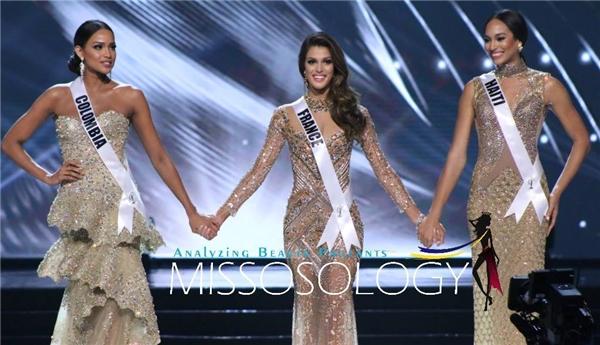 Hoa hậu Pháp được đánh giá cao bởi gương mặt sáng và vóc dáng của một người mẫu. Á hậu 2 thuộc về người đẹp Colombia, Á hậu 1 là thí sinh Haiti.