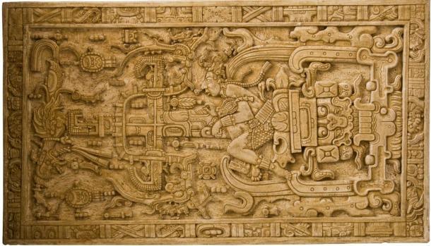Hình ảnh khắc trên nắp quan tài của vua Pakal.