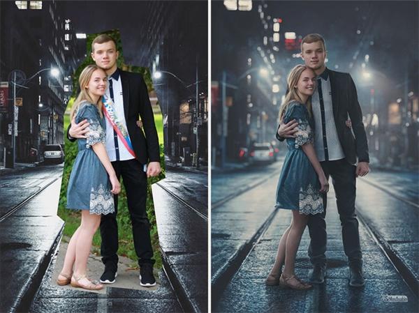 Một cặp đôi khác may mắn sở hữu bức hình lãng mạn giữa phố đêm.