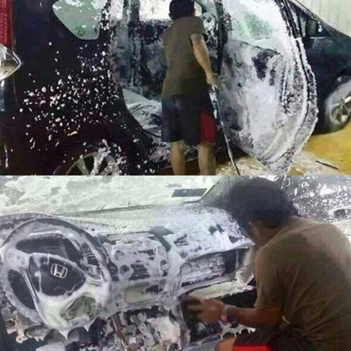 """Lần đầu rửa xe ô tô nên còn """"bỡ ngỡ"""". Rút kinh nghiệm lần sau.(Ảnh: Internet)"""